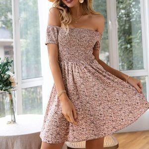 Of the shoulder Dress Boho Dress Floral Print